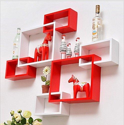 JS Home Décor Red & White Wall Shelf Rack Set Of 2 Floating Shelves