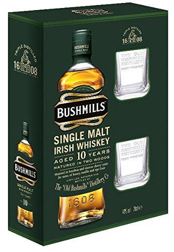 bushmills-whiskey-10-jahre-40-07l-whisky-flasche-2-original-bushmills-glaser-in-gp