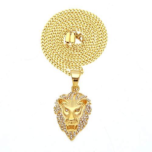 YOLANDE Herren-Schmuck Gold Vergoldet oder Silber Platiniert Löwe Löwen Kopf Halskette Kette Man´s Hip Hop Geschenk für den Freund/Mann