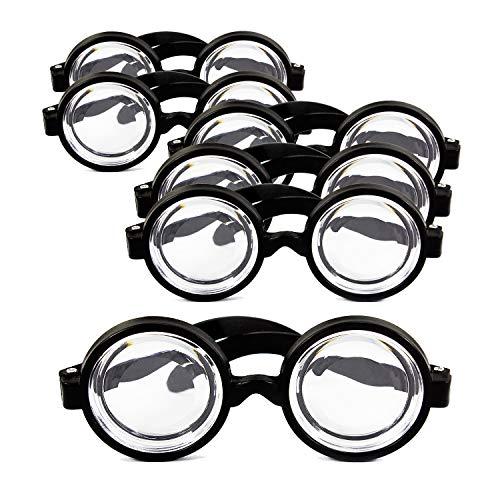 Oblique Unique® 6X Idiotenbrille Streber Nerd Geek Freak Spaß Brille Fasching Karneval Halloween Accessoire Schwarz (Professor X Kostüm)