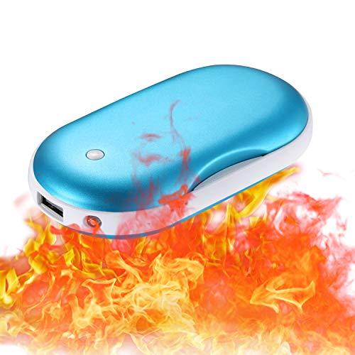 CableClub Handwärmer USB Wiederaufladbare Powerbank mit LED Taschenlampe, Größere Kapazität Tragbare USB-Ladegerät 5200MAH Power Bank Externe Akku für Smartphones, Massage-Vibrationsfunktion(Blau)