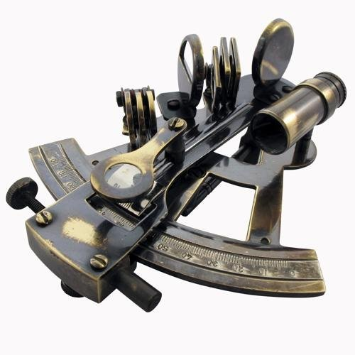 Antique Marco Polo Korcula Victoria Travelling Sextant In Wooden Box by CE Hardware & Tools - Jahrhundert Crystal
