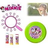 Set infantil juguetes (frisbee + multi trompeta de pompas) con varios motivos - Minnie