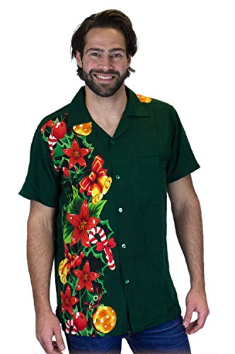 King Kameha | Funky Camicia Hawaiana Da Uomo | XS - 6XL | Maniche Corte | Tasca Frontale | Stampa Hawaiana |Natale Santa Christams Xmas ChristmasWeddingGreen