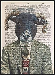 Highland Vintage Ram Sheep Print Dictionary Page Wall Art Picture Bow Tie Hipster Tartan Cattle Humanised Quirky Funky