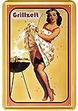 Grillzeit 50er Jahre Style pinup / pin up sexy girl blechschild erotik metallsign