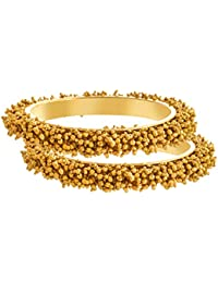 JFL- Traditional & Ethnic One Gram Gold Plated Designer Bangles With Golden Pearl For Women & Girls.