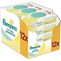 Pampers New Baby Wet Wipes Sensitive, paquet de 12 (12 x 50 pièces)