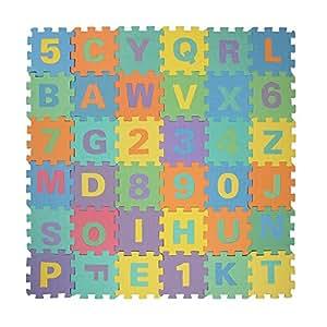 Puzzle tapis jeu mousse hompo 36 pi ces 16x16 cm tapis chiffre et alphabet - Tapis mousse alphabet ...