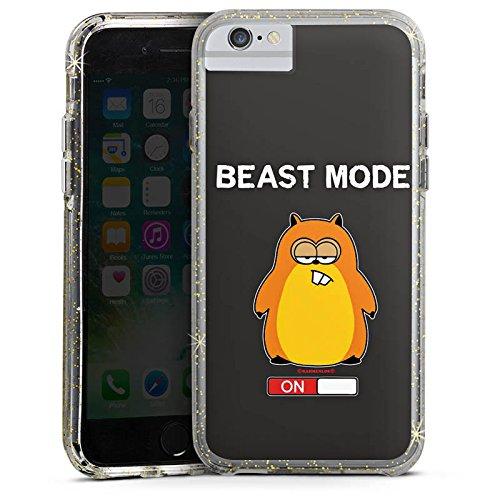 Apple iPhone 8 Bumper Hülle Bumper Case Glitzer Hülle Hamster Funny Lustig Bumper Case Glitzer gold