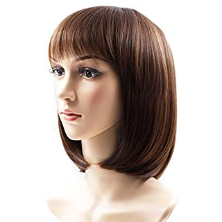 Synthetic Lace Front Wig for Women Rabbitgoo Short Brown Bob Wigs Natural High Quality Straight Ladies Real Hair Wig with Fringe for Cosplay Halloween Christmas Party