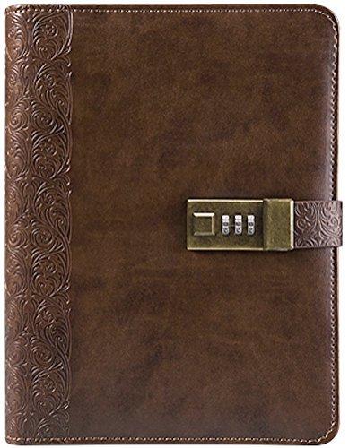 Business Tagebuch mit Zahlenschloss (Tagebuch mit Zahlenschloss) A5(21,6x 14,7cm) das PU-Leder Kombination Lock Tagebuch (Kombination Lock Tagebuch) ist ein nachfüllbar Leder Tagebuch coffee Memo Center