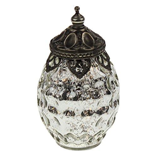 LED Windlicht antik Silber bauernsilber mit Metallornamenten 8x15cm Glas Weihnachten Tischdeko Home...