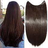 """24"""" Extension Cheveux Fils Transparant Fil Invisible Cheveux Lisse Monobande - Extension Cheveux Synthétique 60CM(24 pouces) - Hair Extensions - Marron Foncé"""