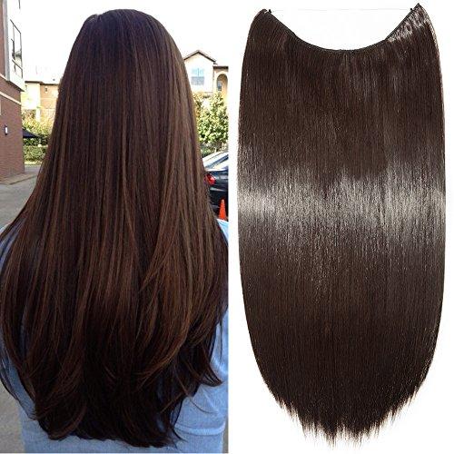 Extension per capelli lunghi lisci fascia unica con filo trasparente 60cm - one piece hair extensions 3/4 full head, marrone scuro
