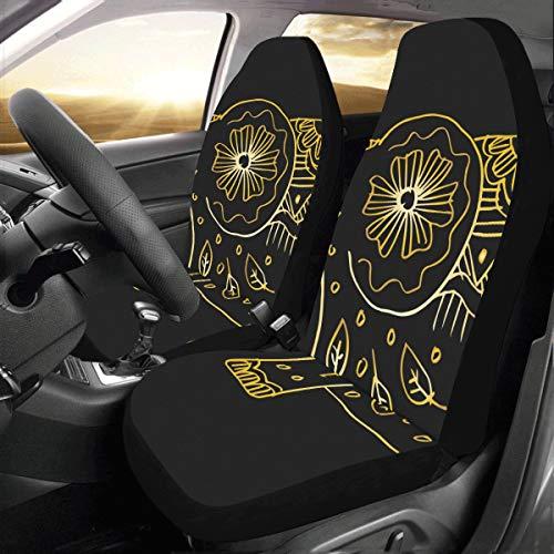 La mejor funda de asiento Elefante decorativo Adornos temáticos indios Universal Fit Auto Fundas de asientos de automóviles Protector para auto camión Suv Vehículo Mujeres Señora (2 delanteras) Funda