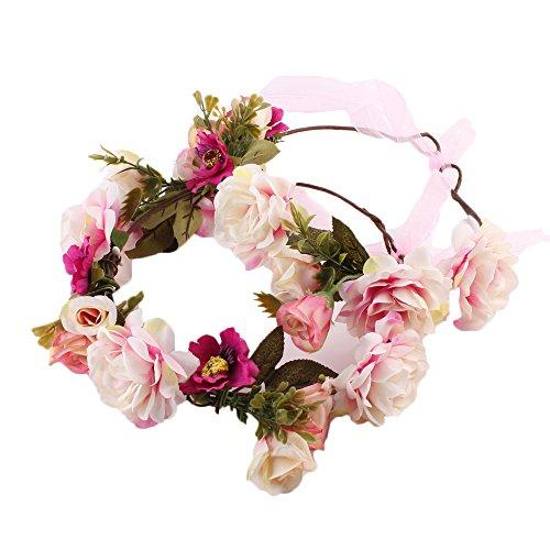 nkranz Blumenstirnband Handwerk für Festival Hochzeit Blumenkrone für Mädchen Brautjungfer Festival Urlaub für Mutter & Baby Mädchen 2 Pcs (Rosa) ()