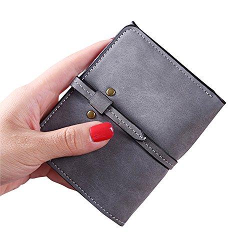 Donne Breve Portamonete Borsa Ragazze Portafoglio Card Holders Mini Frizione Purse Grigio Scuro Grigio scuro