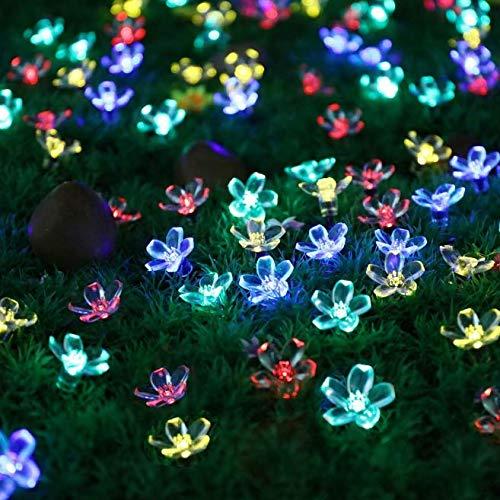 Linfei Solar Lichterkette 100Led Pfirsichblüte Laterne Outdoor Garten Weihnachten Tag Dekoration Licht Led Star String Licht 17 Meter (Multicolor) -