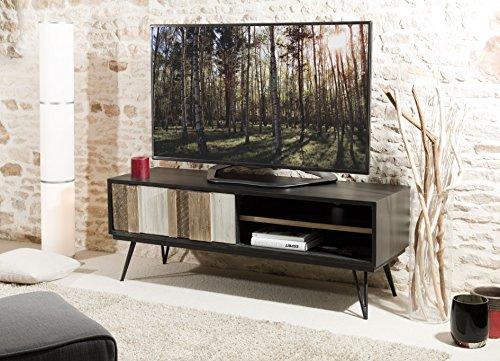 Macabane Meuble TV 1 Porte coulissante 2 niches, Bois, Multi Couleurs, 150 x 45 x 56 cm