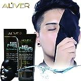 Aliver Carbone naturale attivato Detergente Acne Purificante Nero Maschera viso nera per la pulizia del viso Maschera di rimozione nana per uomini 50ml