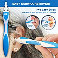 Find Back Multifunctional Smart Ear Cleaner Easy Ear Wax Remover Spiral Earwax Swab Soft Removal Tool Kit with 16 Pcs Silicone Replacement Heads and 1 Stainless Steel Earpick