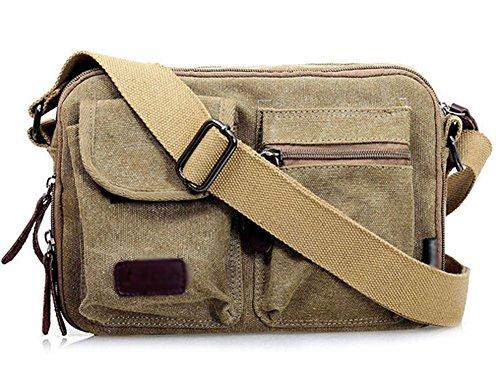 ecokaki Vintage Mode 4. Leinwand Wandern Travel Umhängetasche Schultertasche Messenger Tasche, ZJB254K, khaki
