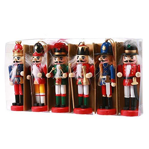 Womdee Nussknacker-Ornament-Set, Holz, Nussknacker-Figuren, Soldat Puppet, Spielzeug für Weihnachten, Party, Outdoor, Hof, Baum, Hängedekoration, 12 cm Color 2