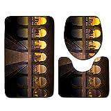 xiaohanzh Druck 3 Stück/Satz Von Badteppich Badteppich rutschfeste Bad Fußmatten Wc-Abdeckung, Saugfähigen Wc-Teppich, Flanellfaser Weich Antistatisch@50X80Cm