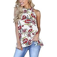 Minetom Mujer Camiseta Boho Estampado Floral Cuello Redondo Chaleco Sin  Mangas Halter Neck Attractivo Blusa Verano 4346a284551d