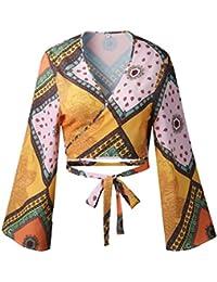 Nhiswsgt Las Mujeres Estampado geométrico Mangas Acampanadas con Cuello en V Vendaje Crop Tops Boho Blusas