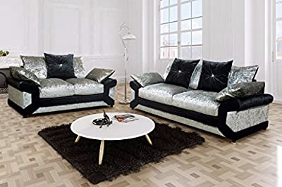 Vargas Crushed Velvet Fabric 3 + 2 Seater Sofa Set from furniturestop.co.uk