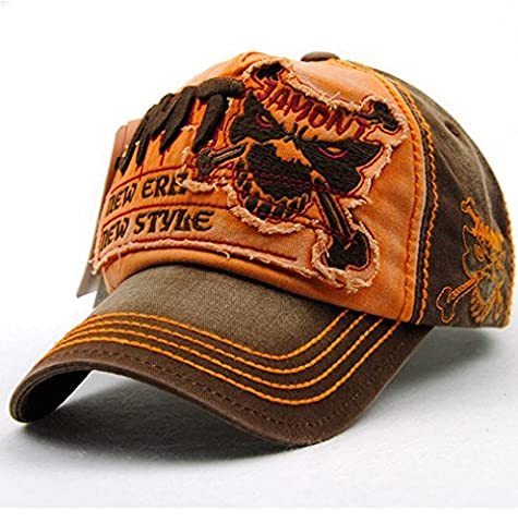 NYCOODNY Pure cotton Personality Vintage Embroidered Snapback Hat Baseball Cap Patch Visor Trucker Hat(Tiger Brown Orange)