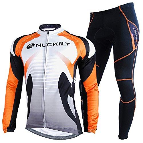 NUCKILY Herren Fahrradbekleidung Set Lang Winter Radjacke und Fahrradhosen