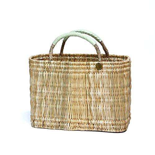 Strohkorb Marokko Basket Grass Basket Handtasche, Hellgrün, Mittel, bitte