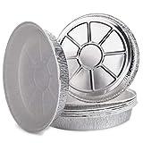 Life Story Contenitori Alluminio Vassoi con Carta Forno Pergamena Antiaderente Integrata, USA e Getta Cibo Contenitore, Round 29 x 4.5 cm, 5 Pack