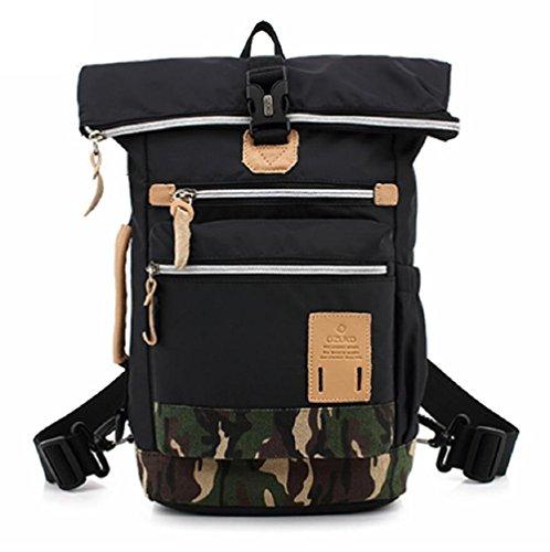 Z&N Multifunktion Outdoor Tarnung Umhängetasche Männer und Frauen reisen Freizeit Rucksack Wochenende Reisetasche black