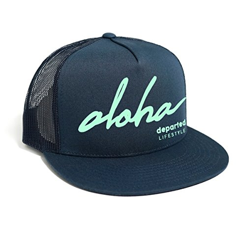 DEPARTED Herren Mesh Trucker Hat mit Print / Aufdruck - Snapback Cap - No. 40, coastal navy