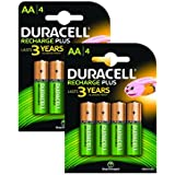 Duracell 1300mAh AA Size Rechargeable Batteries--Pack of 8