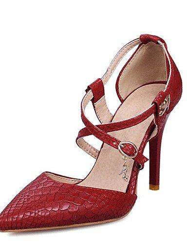 WSS 2016 Chaussures Femme-Mariage / Habillé / Soirée & Evénement-Noir / Rouge / Blanc-Talon Aiguille-Talons / D'Orsay & Deux Pièces / Bout Pointu- red-us9 / eu40 / uk7 / cn41
