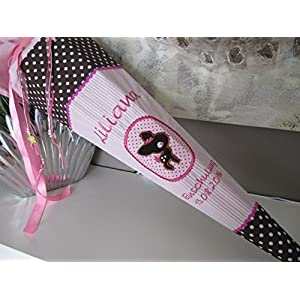 Reh, Rehkitz rosa-braun Schultüte Stoff + Papprohling + als Kissen verwendbar