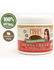 Pride Of India - Crème Rouge Henné Couleur des cheveux w / Huiles à base de plantes (Prêt à l'emploi), One Pound...