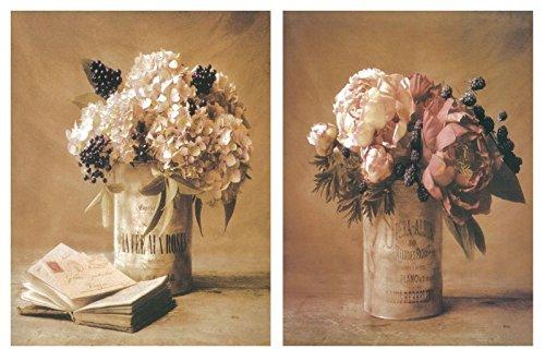 Dcine Cuadro de Madera de Flores de decoración. Set de 2 Unidades de 19x25 cm Cada Unidad