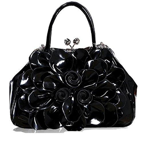 Damen Mode 3D Blumen Handtasche Rosenblüten wasserdicht Handtasche Griff Taschen Black