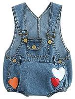 La Vogue Baby Overalls Cotton Romper Printed Jeans Jumpsuit, Blue 1, 80