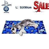 Kühlmatte für Hunde Kühldecke Ungiftig Gel Matte, Druck aktiviert selbstkühlende decke für Welpe innen&draußen im heißen Sommmer Blau L(50*90 cm)