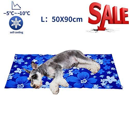 Alfombrilla de Refrigeración Animales Nevera y Manta para Perro Fresco Cojín Azul Nevera Techo Camas de Suelo Couch Zwinger Auto 50X90 cm