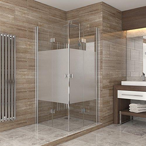 Dusche Duschkabine Falttür Echtglas Duschabtrennung Eckeinstieg Duschwanne 80x80 Satiniert