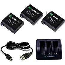 Smatree Batería de repuesto 1290mAh (paquete de 3) + 3 canales cargador + USB Cable para GoPro Hero 4 Cámara Videoámara