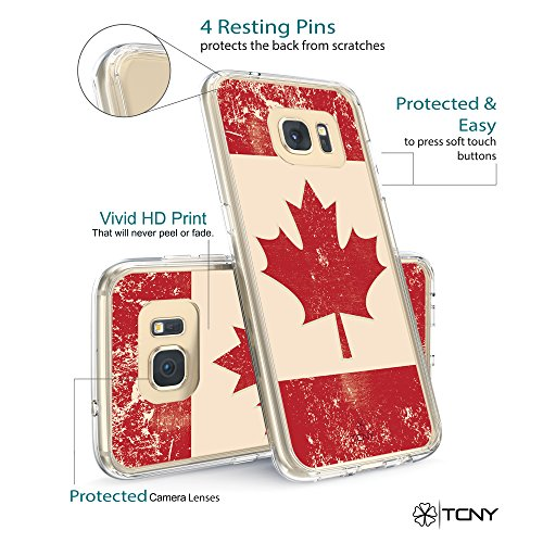 iPhone 6s Anchor Case - True Color Clear-Shield Nautical Coral Anchor on Stripes Printed on Clear Back - Perfect Soft and Hard Thin Shock Absorbing Dustproof Full Protection Bumper Cover Canadian Flag